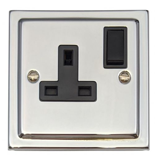 G&H TC9B Trimline Plate Polished Chrome 1 Gang Single 13A Switched Plug Socket